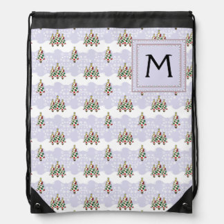 Winter Christmas Tree Pattern With Initial Drawstring Bag