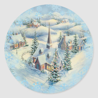 WINTER CHURCH by SHARON SHARPE Classic Round Sticker