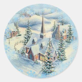 WINTER CHURCH by SHARON SHARPE Round Sticker