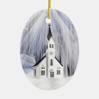 Winter Church Ceramic Oval Ornament