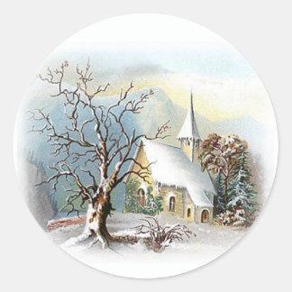 Winter Church Classic Round Sticker