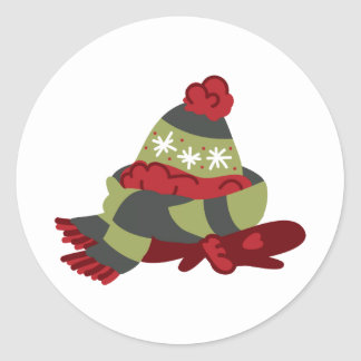 Winter Clothes Classic Round Sticker