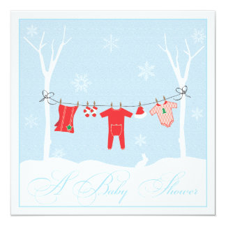 Winter Clothesline Baby Shower Invitation