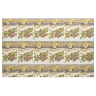 Winter Cottage Bell Holly Winterberry Snow Fabric