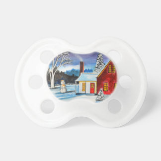 Winter Cottage with snowman Holiday Christmas art Baby Pacifier