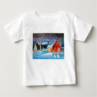 Winter Cottage with snowman Holiday Christmas art Baby T-Shirt