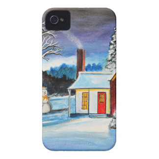 Winter Cottage with snowman Holiday Christmas art Case-Mate iPhone 4 Cases