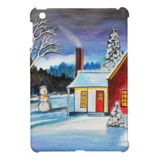 Winter Cottage with snowman Holiday Christmas art iPad Mini Cases
