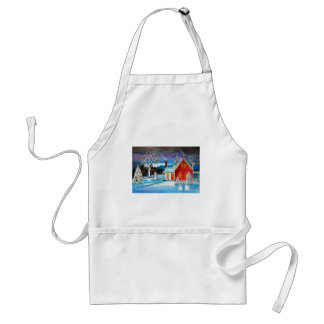 Winter Cottage with snowman Holiday Christmas art Standard Apron