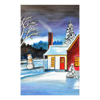 Winter Cottage with snowman Holiday Christmas art Stationery