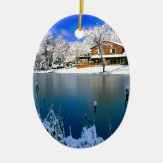 Winter Country Retreat Ceramic Ornament