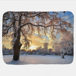 Winter Countryside In Latvia Baby Blanket