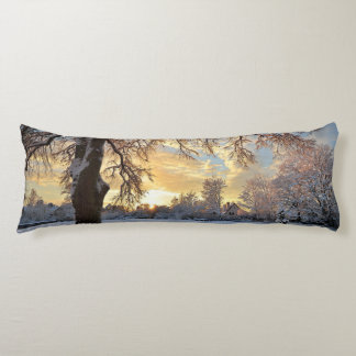 Winter Countryside In Latvia Body Pillow
