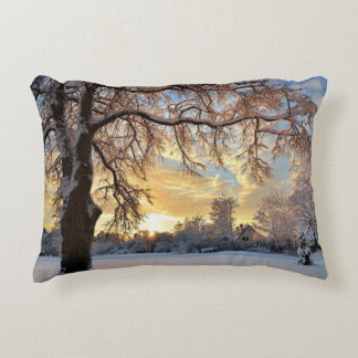 Winter Countryside In Latvia Decorative Pillow