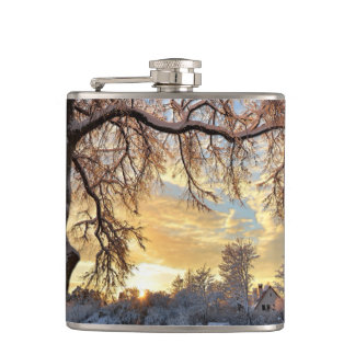 Winter Countryside In Latvia Hip Flask