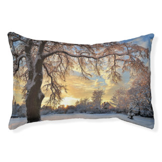 Winter Countryside In Latvia Pet Bed