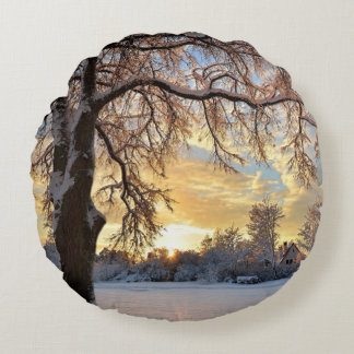 Winter Countryside In Latvia Round Pillow