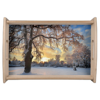 Winter Countryside In Latvia Serving Tray