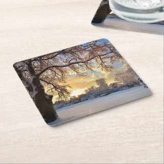 Winter Countryside In Latvia Square Paper Coaster