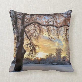 Winter Countryside In Latvia Throw Pillow