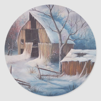 Winter Cover Classic Round Sticker