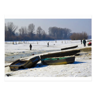winter - danube river in frosty day postcard
