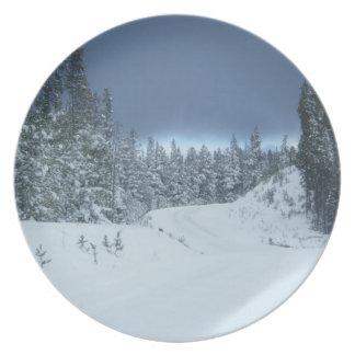 Winter Dark Blue Sky Plate