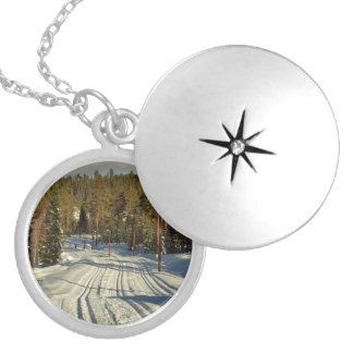 Winter day in Sweden Silver Plated Necklace