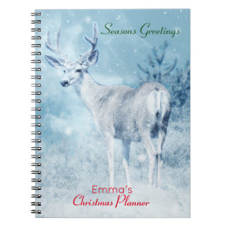 Winter Deer and Pine Trees Christmas Planner Notebooks
