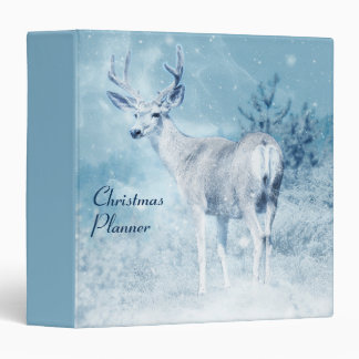 Winter Deer and Pine Trees Custom Christmas 3 Ring Binder