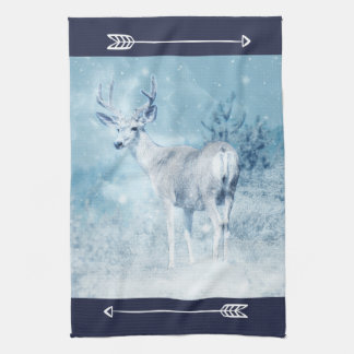 Winter Deer and Pine Trees Kitchen Towel