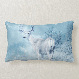 Winter Deer and Pine Trees Lumbar Pillow