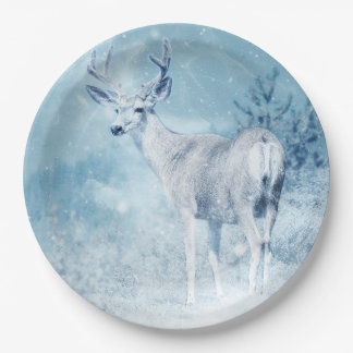 Winter Deer and Pine Trees Paper Plate