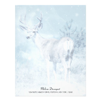 Winter Deer and Pine Trees Personalized Letterhead