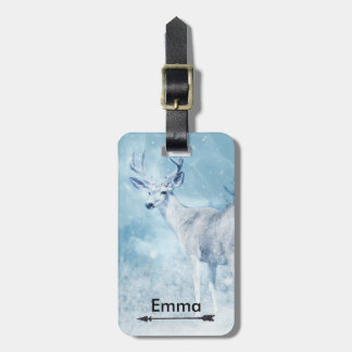 Winter Deer and Pine Trees Personalized Luggage Tag