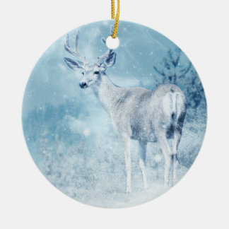 Winter Deer and Pine Trees Round Ceramic Ornament