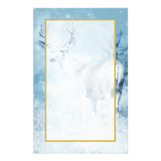 Winter Deer and Pine Trees Stationery