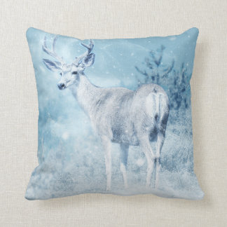 Winter Deer and Pine Trees Throw Pillow