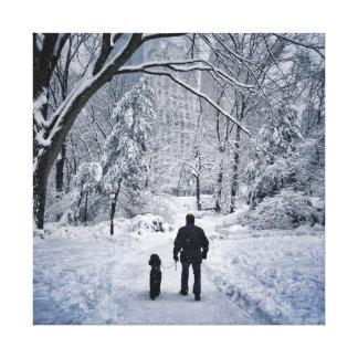 Winter Dog Walk Canvas Print