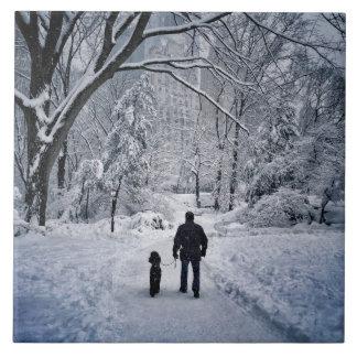 Winter Dog Walk Tile
