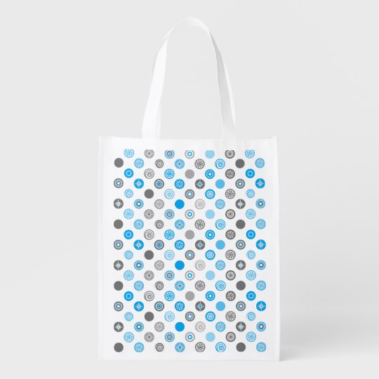 Winter Dots Blue and Grey Holiday Bag Reusable Grocery Bag