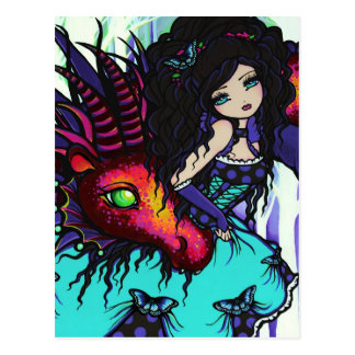Winter Dragon Butterfly Ice Girl Art Postcard