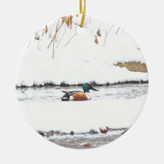 Winter Duck Ceramic Ornament