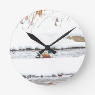 Winter Duck Round Clock