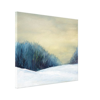 Winter dusk art painting gallery wrapped canvas
