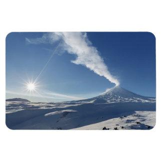 Winter eruption Klyuchevskoy Volcano in Kamchatka Magnet