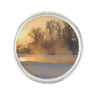 Winter Evening by the Frozen Lake Lapel Pin