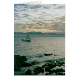 Winter Evening Sail on the Pacific Coast Card