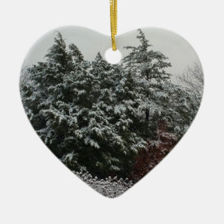 Winter Evergreen Ceramic Heart Ornament