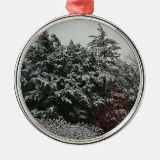 Winter Evergreen Silver-Colored Round Ornament